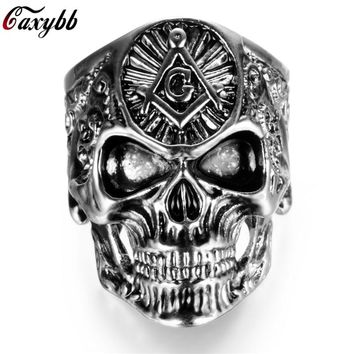 Stainless Steel Masonic skull rings Men's High Quality Silver Gold Ring Personality Punk Ring