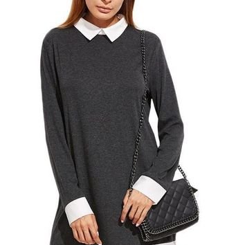 SheIn Autumn Women Dress Korean Womens Clothing Color Block Heather Grey Contrast Collar and Trim Casual Shift Dress