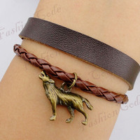 Wolf Charm Bracelet in Bronze--Best Chosen Gift--Persomalized Leather Bracelet
