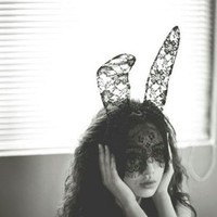 Bunny ear black lace mask / headband