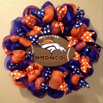 Denver Broncos football wreath football decor
