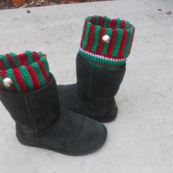 Christmas Boot Cuffs with Silver Jingle Bells - Crochet Boot Cuffs - Boot Toppers - Holiday Accessories