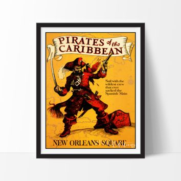 Pirates of The Caribbean, Disneyland Poster