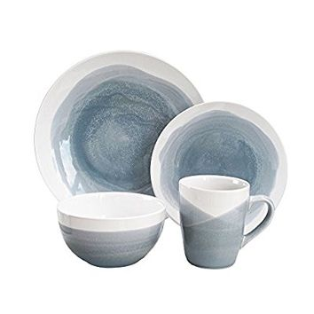 American Atelier 6702-16-RB Oasis Dinnerware Set (16 Piece), Gray/Blue