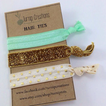 Hair Ties Coral, Mint & Gold Polka Dot Hair Ties Gold Glitter Party Favors Pony Tail Holder Elastic