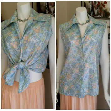 60's Miss K Pastel Blue & Pink Flower Collar Sleeveless Top, Vintage Mod Tank Top, Floral Summer Shirt, Women's Button Down , Sz LG/XL