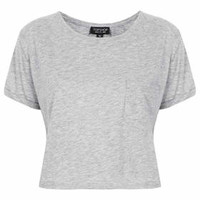 Roll Pocket Crop Tee - Grey Marl