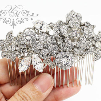Wedding Accessories Swarovski Crystal Headpiece Wedding headpiece Bridal Hair Comb Bridal hair pins Bridal Headpiece Rhinestone Rose - ROSE