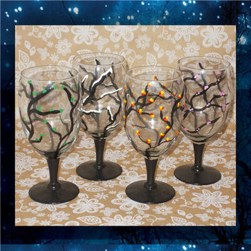 Four Seasons - Hand Painted - pilsner glass - champagne glasses - wine glasses - bridal party glasses - wedding party glass - birthday glass