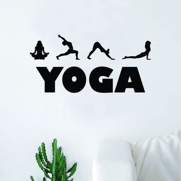 Yoga Poses V2 Wall Decal Sticker Home Decor Vinyl Art Bedroom Teen Inspirational Quote Namaste Meditate Relax Stretch