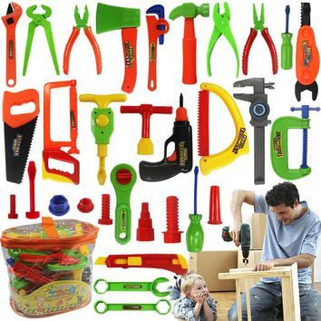 Baby Repair Tools Toy 34pcs/set Children Tools Plastic Fancy Party Costume Chainsaw Toy Kids Pretend Play Classic Toys Gift