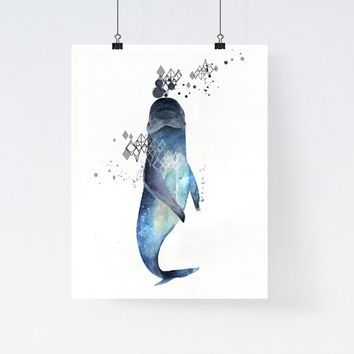 Watercolor whale art print, nautical print, whale, ocean, animal print, modern home decor, apartment wall art, gift