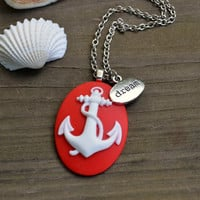 Anchor Necklace -  Red and White - Nautical - Dream - Silver