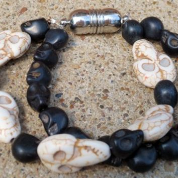 Ma Ma and Baby Black and White Skull Bracelet