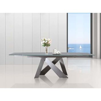 Casabianca Home ZARA Collection Titanium Base / Light Gray Glass  Extendable CB-316DT Dining Table
