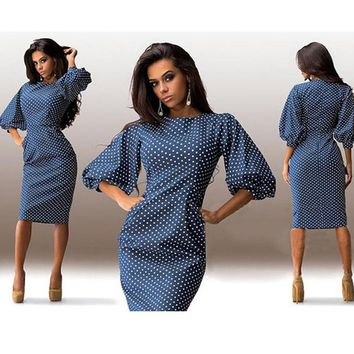 Women's Blue and White Polka Dotted Knee-Length Dress With O-neck and Lantern Sleeves.    In Sizes From Small to 2XL.    ***FREE SHIPPING***