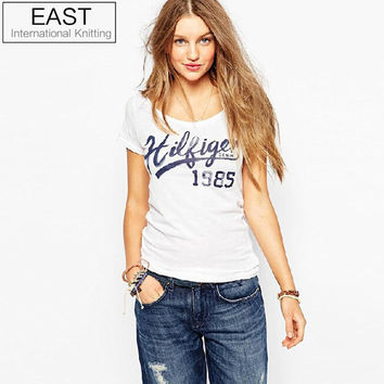 European Street Fashion Slim Summer Basic t shirt Women 2015 New Letter Print Casual Slim Women Tops T-Shirts Plus Size