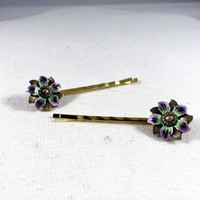 Purple, green, and, gold flower hair pins made from 1950s vintage clip on earrings, costume jewelry bobby pins, bridesmaids gift