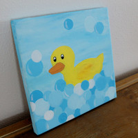 Rubber ducky in bubbles acrylic canvas painting