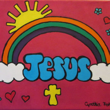 Jesus painting on canvas, rainbow clouds sun, pink background, original painting, unvarnished, 11x14, children's painting, Christian