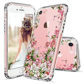 ONETOW iPhone 7 Case, iPhone 8 Case, iPhone 7 Clear Case, MOSNOVO Floral Printed Flower Clear Design Transparent Plastic Case with TPU Bumper Protective Cover for Apple iPhone 7 (2016) / iPhone 8 (2017)