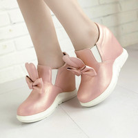 Bowtie Women Loafers Platform Wedge Shoes 7053