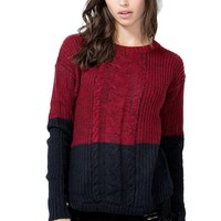Colorblocked Cable Sweater