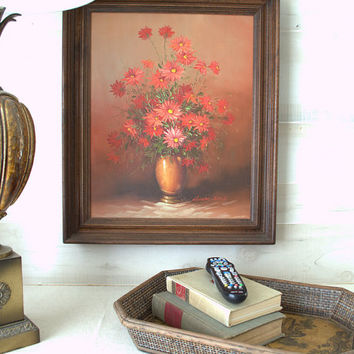 1970s Robert Cox Oil Painting, Framed Floral Painting, Large Chrysanthemum Wall Art