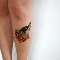 Temporary Tattoo Floral Wolf - Vintage floral, Wildflowers, Wolf, Leader of the Pack, Large