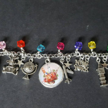 Around the world themed charm bracelet