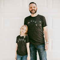 Father / Child T-Shirt Gift Set - Big and Little Dipper - White on Black