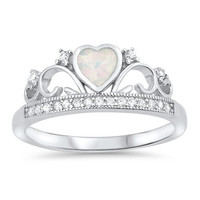 Sterling Silver Opal Heart Crown Ring