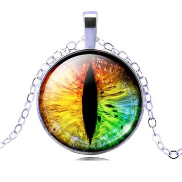 25mm Rainbow Dragon Eye Glass Cabochon Pendant Necklace