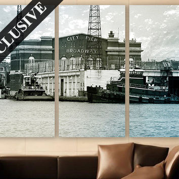 Old Port Wall Art EXTRA LARGE Canvas Print 3 Panel Art Baltimore Wall Art Wall Decor Fine Art Photography Print for Home & Office Wall Art