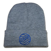 DEBANG Avatar The Last Airbender Watertribe Beanie Unisex Embroidery Knitted Hats Skullies Skull Caps Beanies Grey