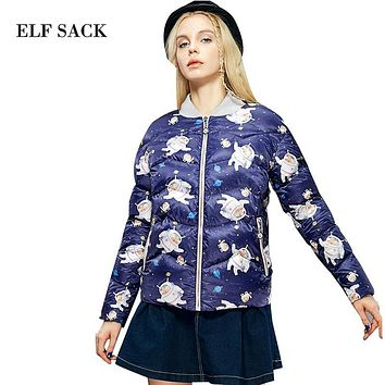 ELF SACK Women Winter Ultralight Stand Collar Long Sleeve Printed White Duck Down Jacket Coat