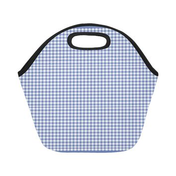 Blue Gingham Neoprene Water-Proof Adult Hot/Cold Food Lunch Bag Small