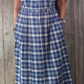 Nice LL Bean 14 L size Blue Gray Plaid Cotton Jumper Tank Dress Womens Cotton