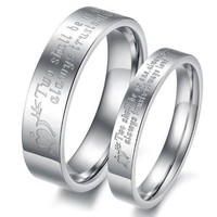"(Male+Female)Silver Arrow&Heart ""Two shall be as one. Always protects. Always trust. Always love"" 316 l Stainless Steel Wedding Band Anniversary/Engagement/Promise/Couple Ring Best Gift! = 5987810497"
