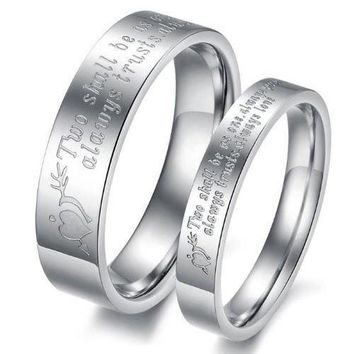 "(Male+Female)Silver Arrow&Heart ""Two shall be as one. Always protects. Always trust. Always love"" 316 l Stainless Steel Wedding Band Anniversary/Engagement/Promise/Couple Ring Best Gift! [8958433991]"