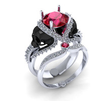 Skull Engagement Ring with Genuine Center Ruby 22 k Investment Grade