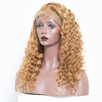 Colorful 250% Density Loose Wave Lace Front Wigs With Baby Hair #27 Brazilian Virgin Human Hair Wigs