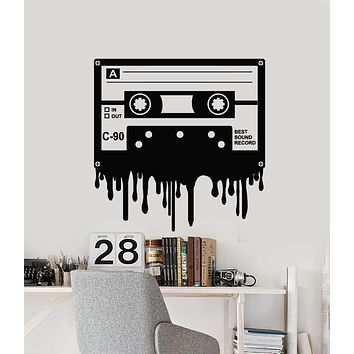 Vinyl Wall Decal Cassette Music Best Sound Record Retro Style Stickers Mural (g1303)