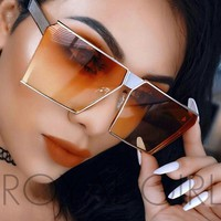 ROYAL GIRL New brand designer Mirrored Glasses Shield style Sunglasses Women Vintage Oversize Sun glasses ss812