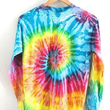 ONETOW Day-First? Bright Rainbow Tie-Dye Long Sleeve Tee
