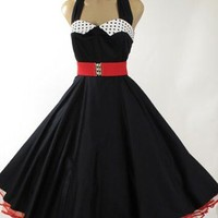 50s Style Tea Length Dresses-1950s Vintage Reproduction Black Halter Full Circle Swing Dress -50s Reproduction Dresses