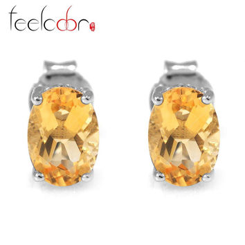 High Quality 1.4ct Genuine Citrine Earrings For Women Oval Cut Solid 925 Sterling Silver Stud Charms Gemstone Jewelry Brand New