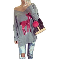 Christmas Clothing Gray Long Sleeve T Shirt Sequin Beads Deer Women V-Neck Pullover Cotton Casual T-Shirts