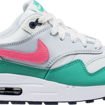 AIR MAX 1 GRADE SCHOOL LIFESTYLE SHOE (WHITE/SUNSET PULSE/GREEN)