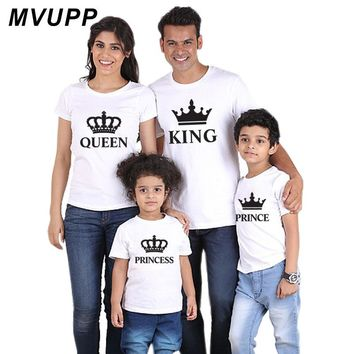 family t shirt outfits clothing king queen princess prince for daddy mommy and me baby mother daughter father son look clothes